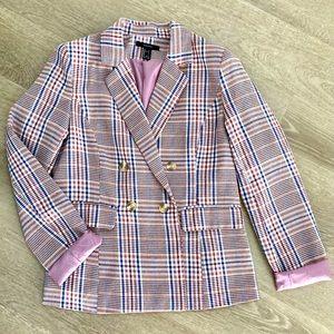 Forever 21 Plaid Blazer Work Wear Jacket Pink